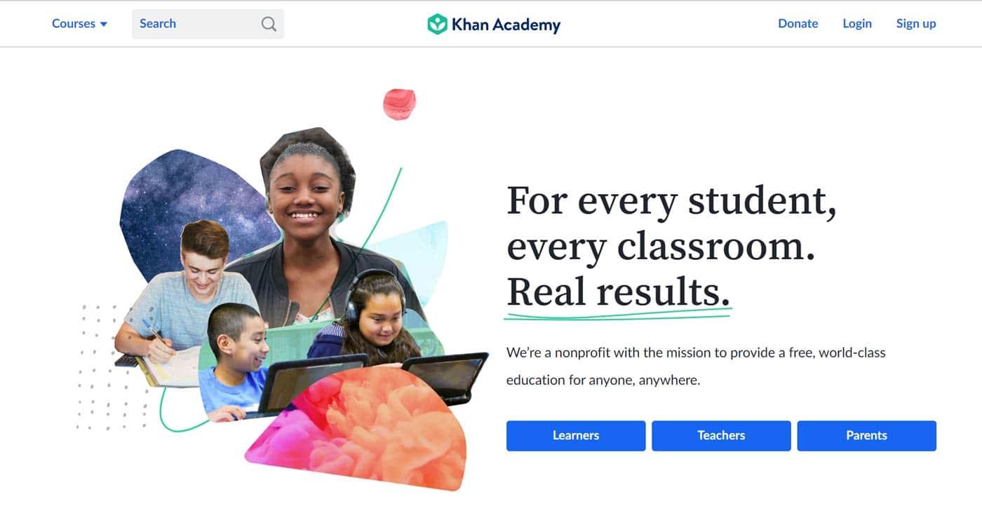 Khan Academy - Landing page design