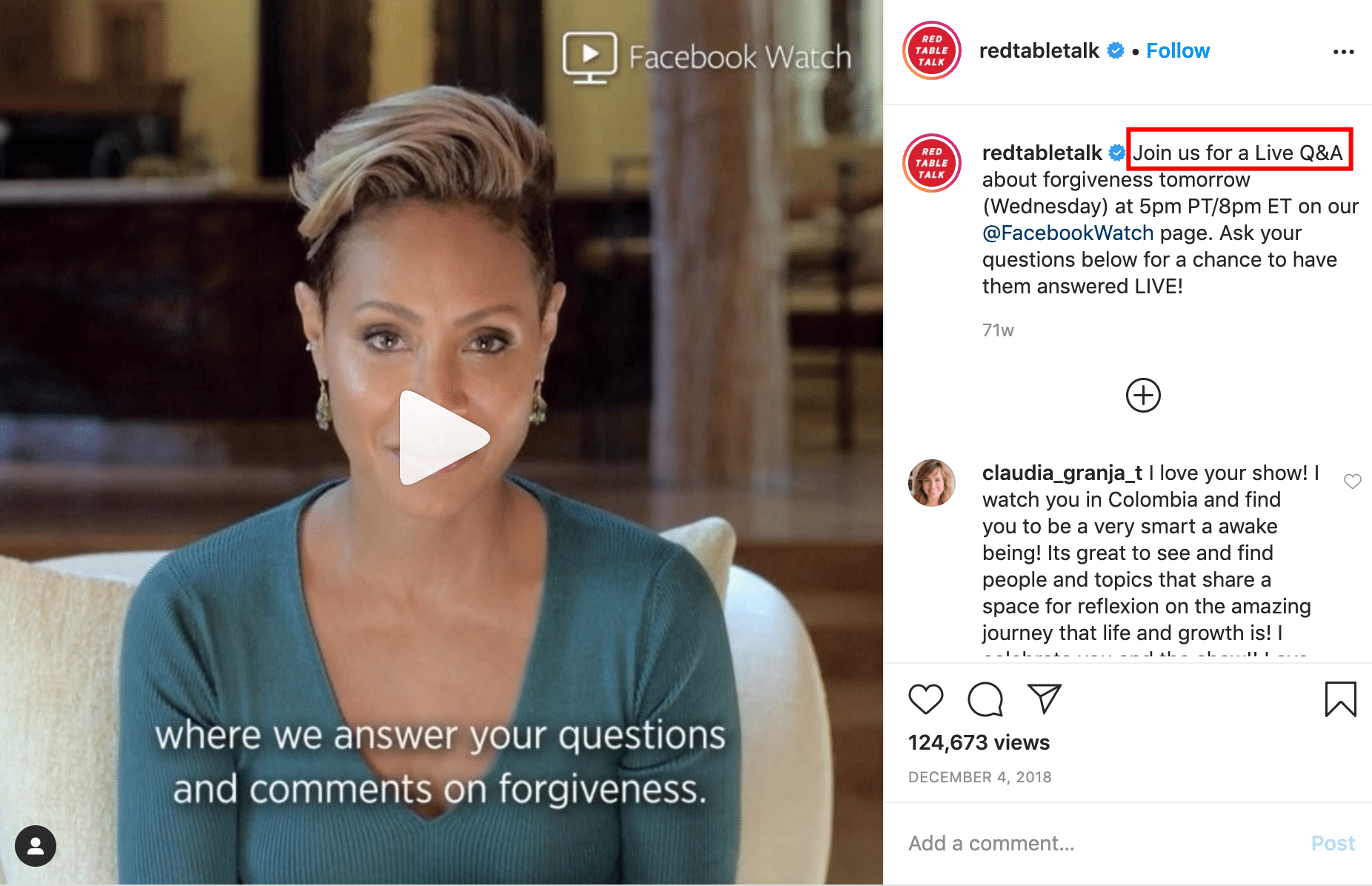 Live Q&A about forgiveness tomorrow by redtabletalk