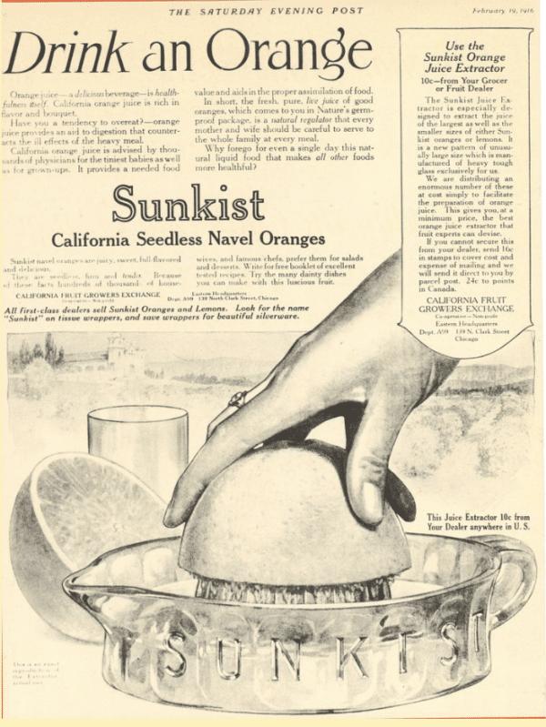 Drink an orange - Sunkist advertisement