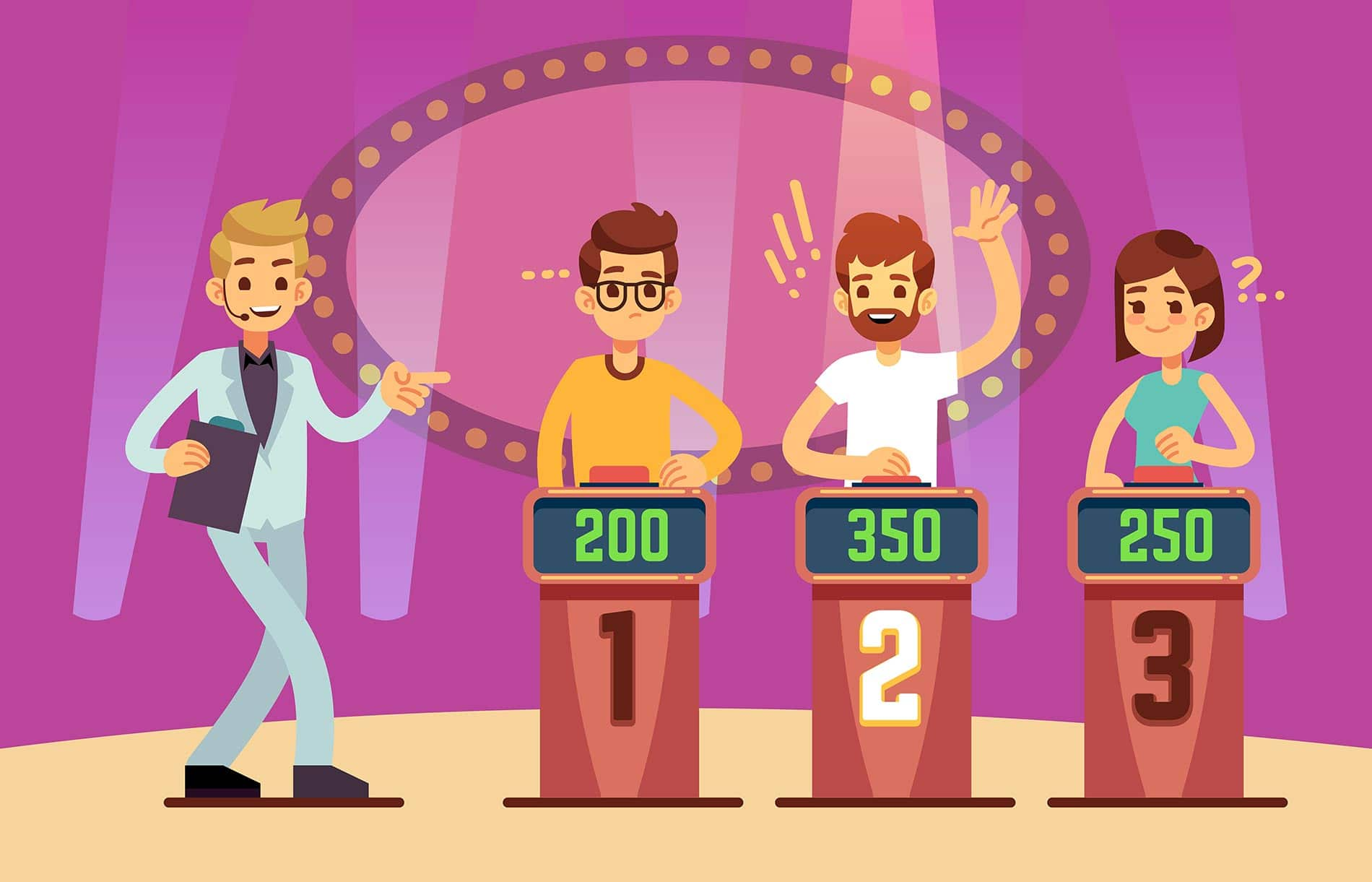 Clever young people playing quiz game-show