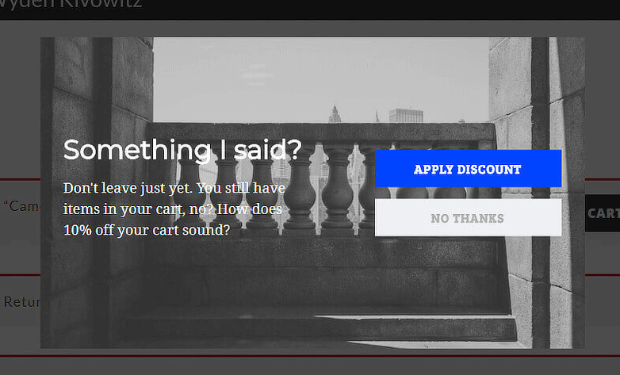 Cart abandonment popups with discounts