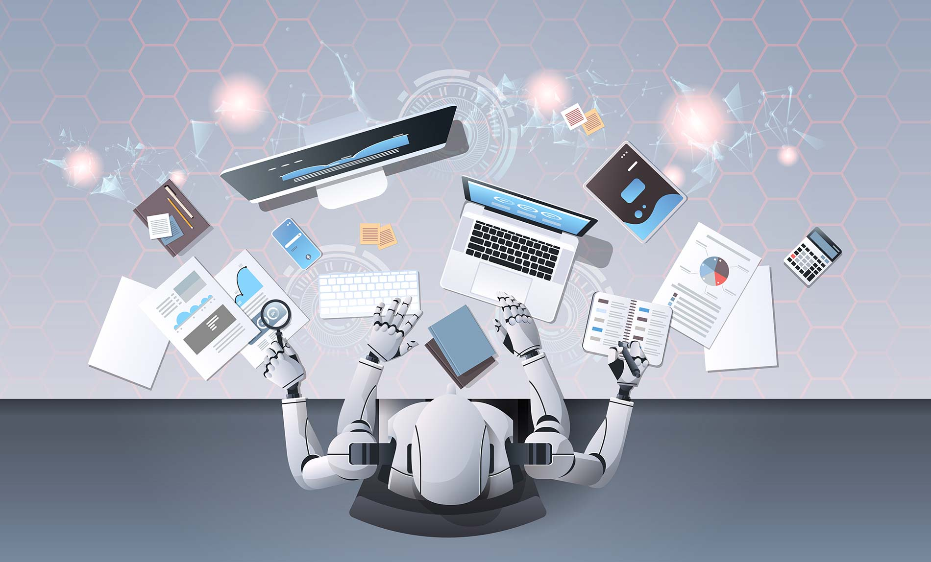Robot with many hands using digital devices at workplace