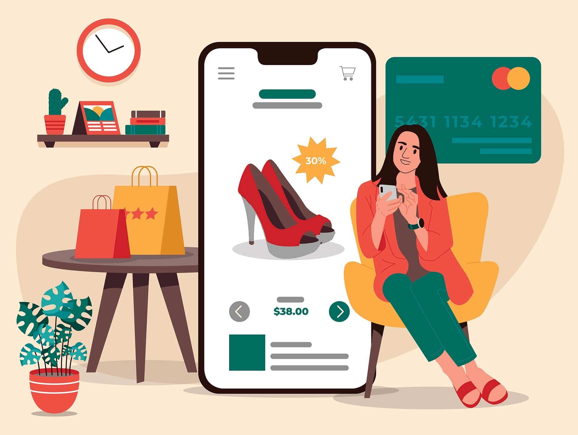 Women shopping online looking for offers
