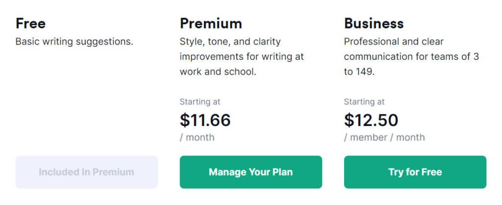 Grammarly - Free, Premium and Business Plans