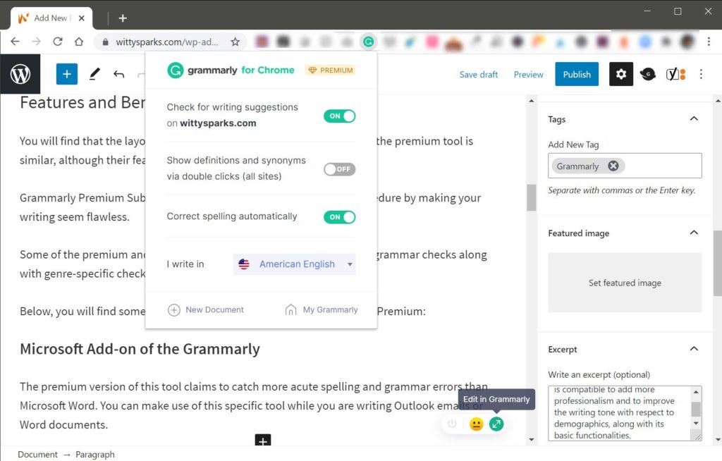 Grammarly Google Chrome browser extension