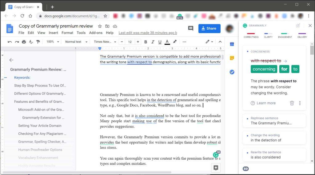 Grammarly Google Docs Grammar Suggestions