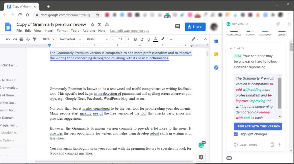 Grammarly for Google Docs Rephrasing Suggestions
