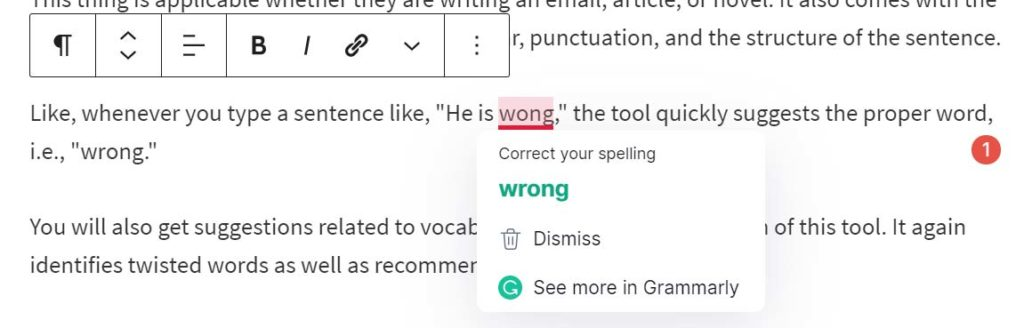 Grammarly Grammar Suggestions in WordPress editor