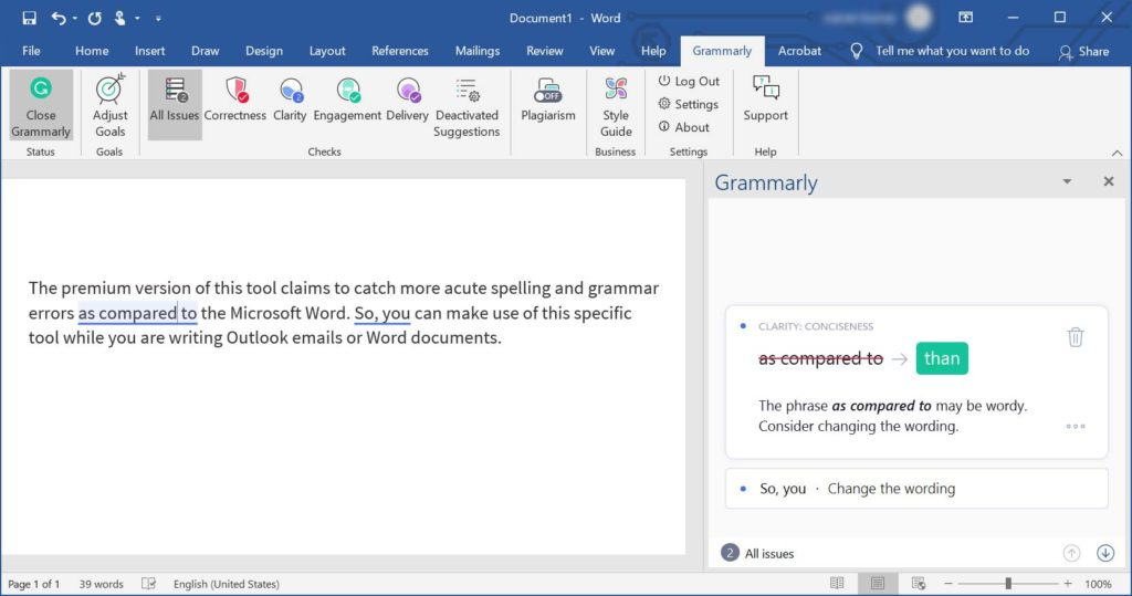 Grammarly - Word document changing the wording