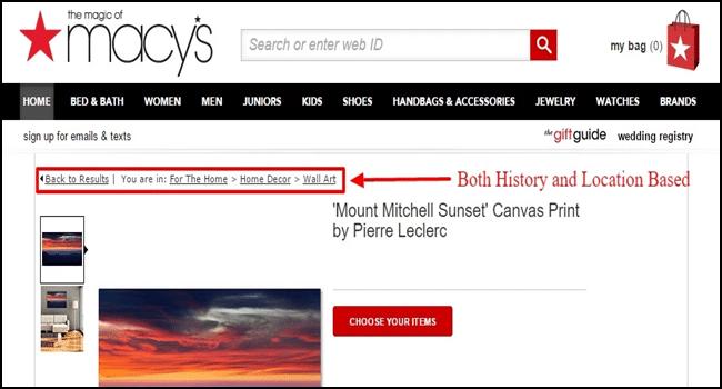 Macys - History based breadcrumbs