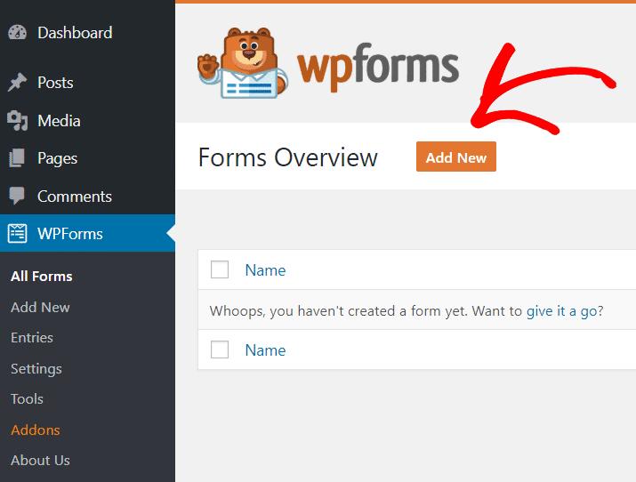 Create form - Add new button - WPForms