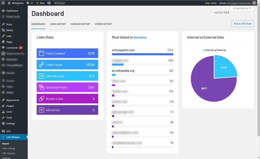 Dashboard - Linkwhisper WordPress plugin