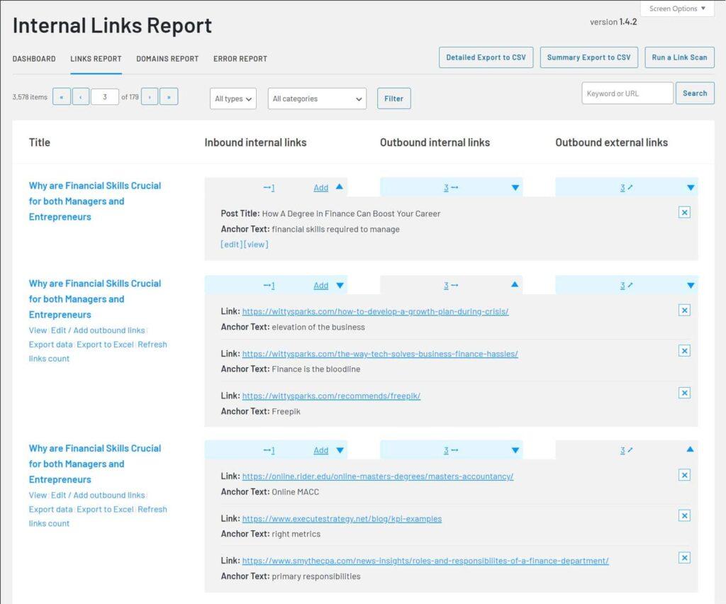 Links Report - Inbound, outbound and external links - LinkWhisper
