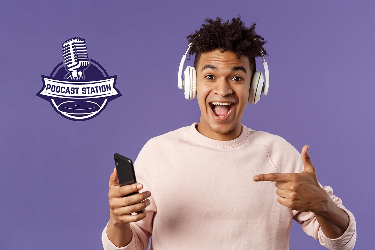 Young man listening to free podcast station