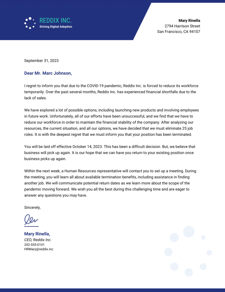 Reducing workforce covid-19 letter