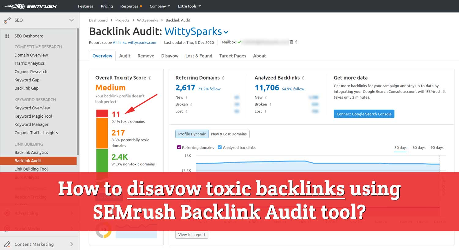 How to remove a toxic backlink using SEMrush Audit tools?