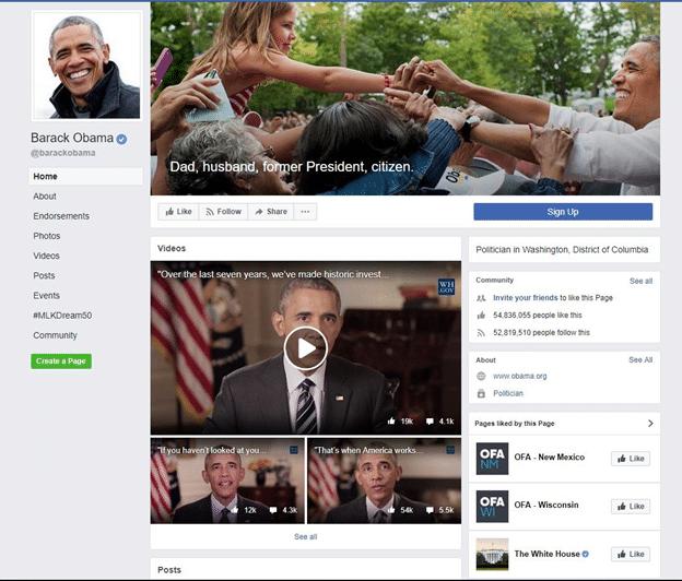 Ex United States President Barack Obama - Facebook page