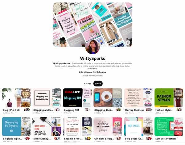 WittySparks Pinterest Boards