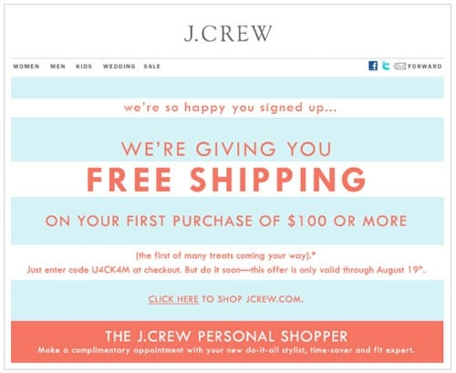 J.Crew free shipping offer
