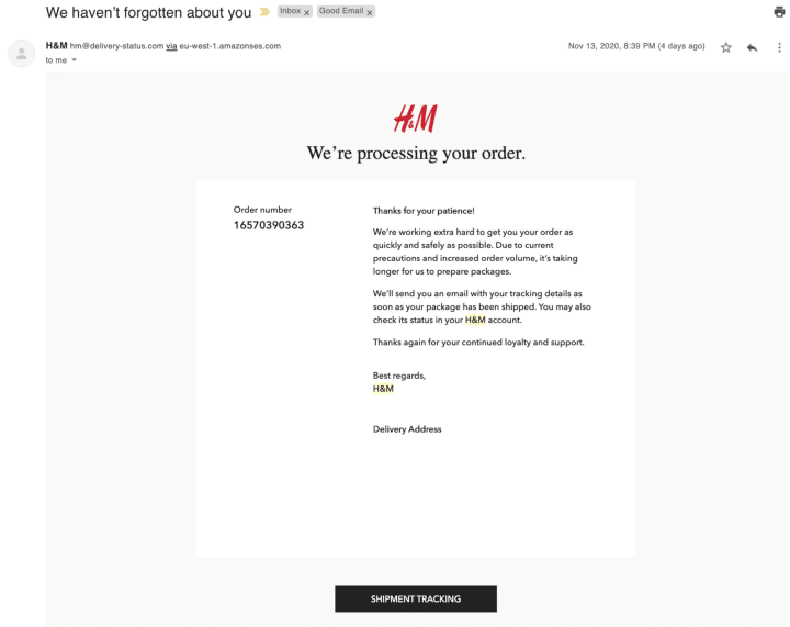 Order confirmation email - H&M