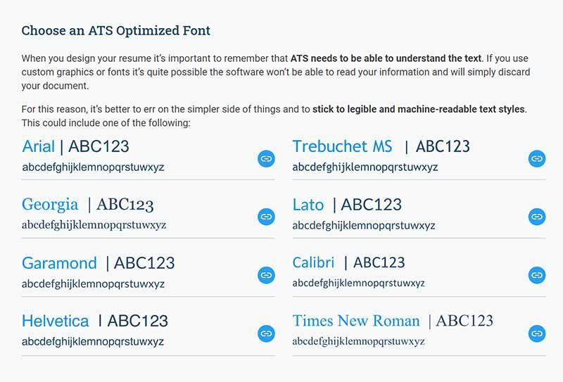 Choose an ATS Optimized Font