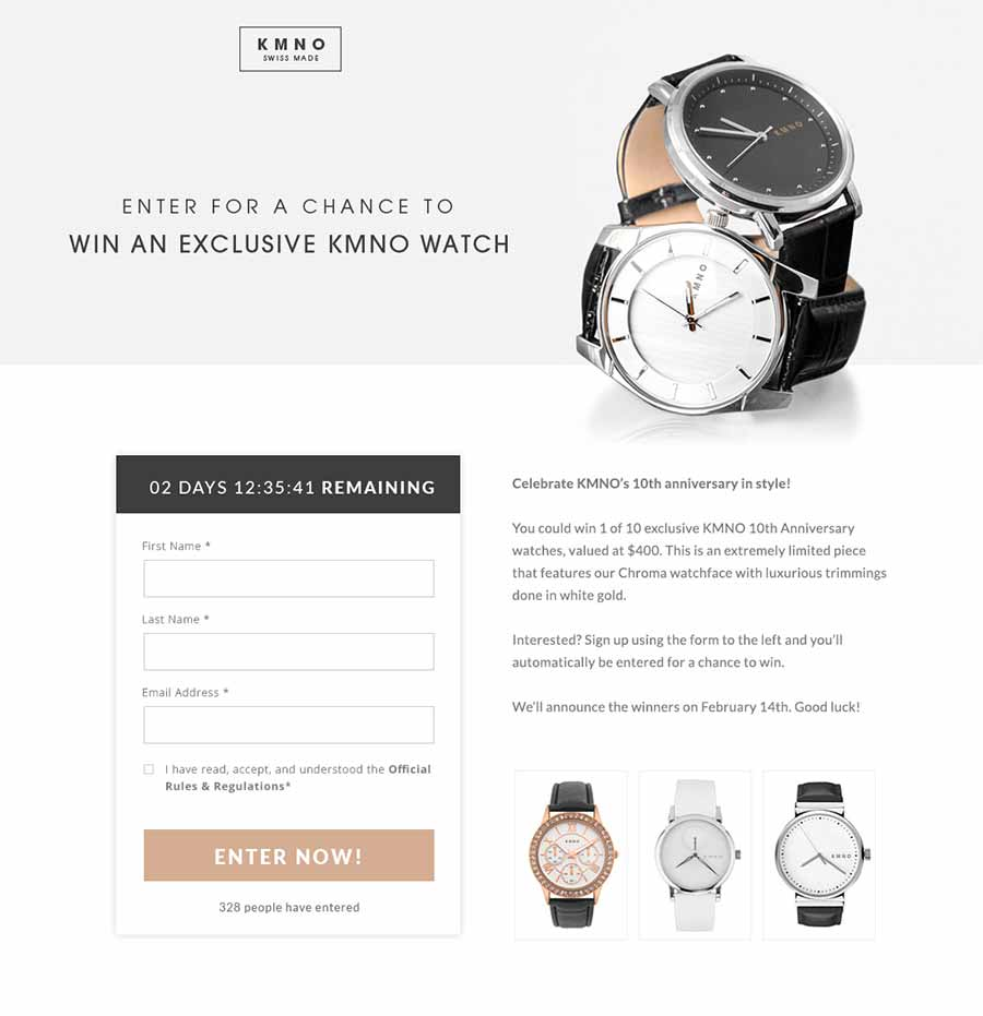 Landing page lead generation example