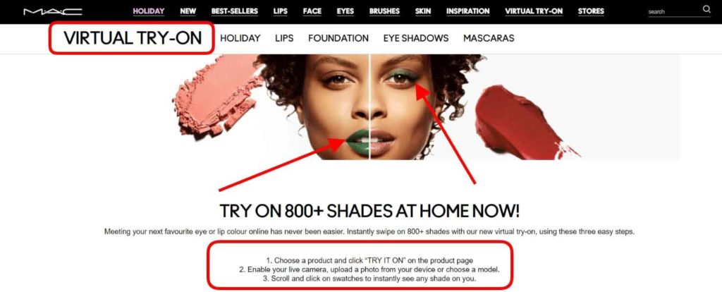 Virtual try-on feature Mac Cosmetics