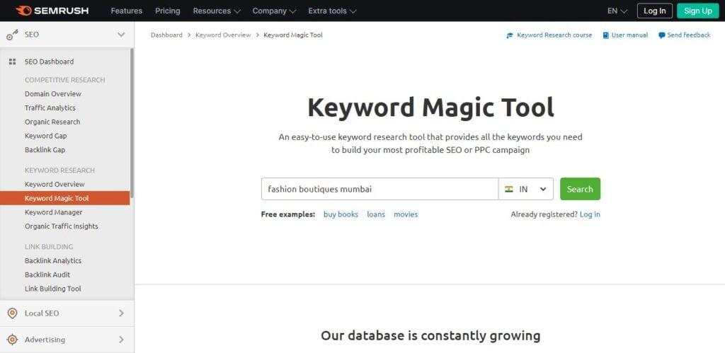 SEMrush local seo keyword magic tool