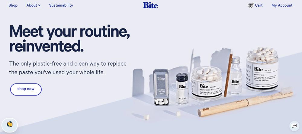 Bite toothpaste bits website design
