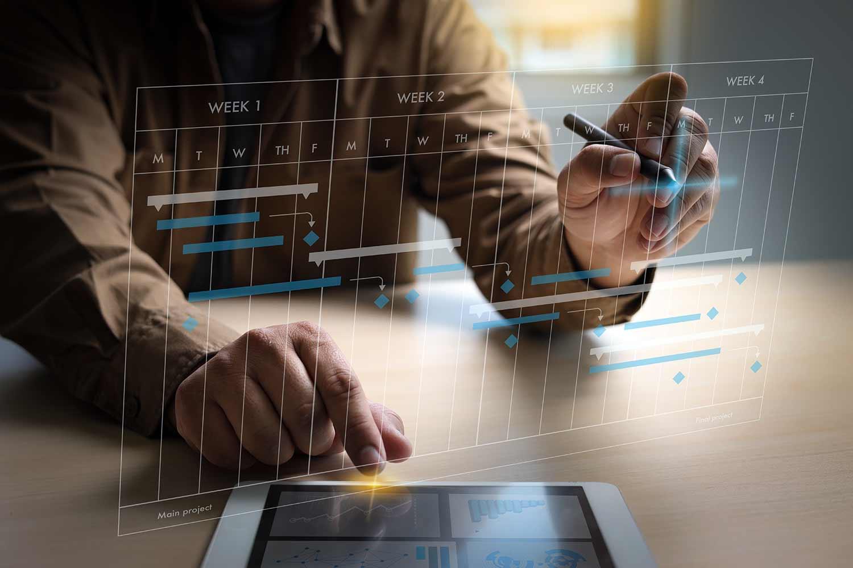Businessman working project update gantt software chart scheduling virtual diagram progress