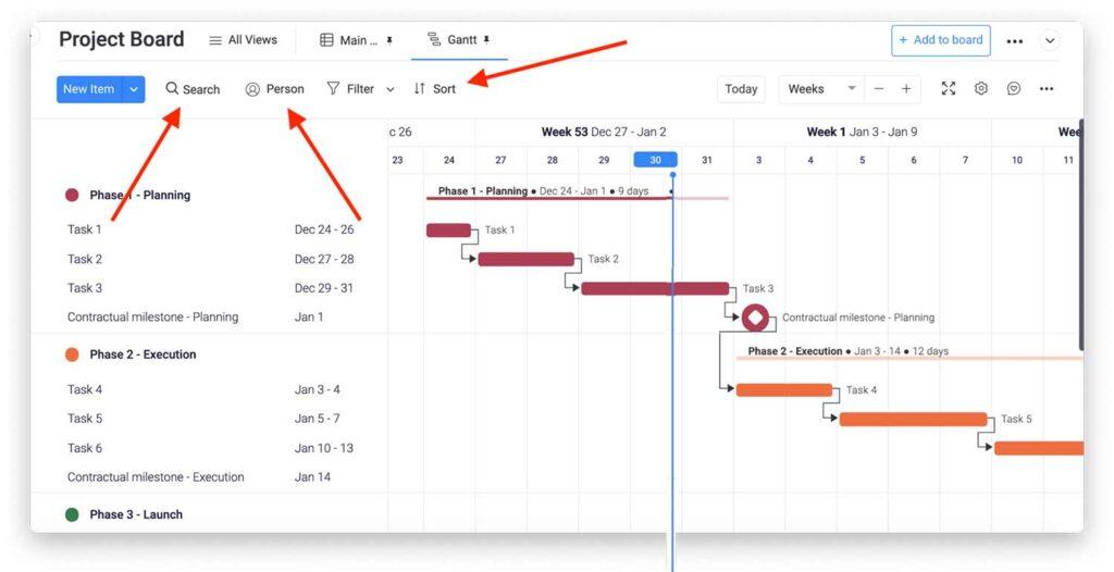 Gantt chart project board filter options
