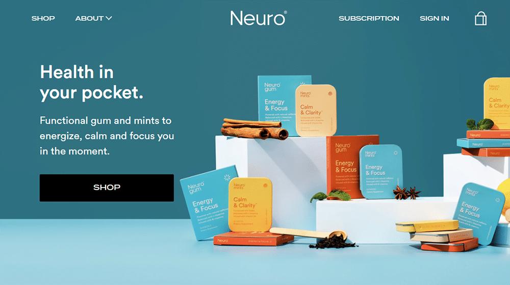 Neuro gum and Neuro mints web design