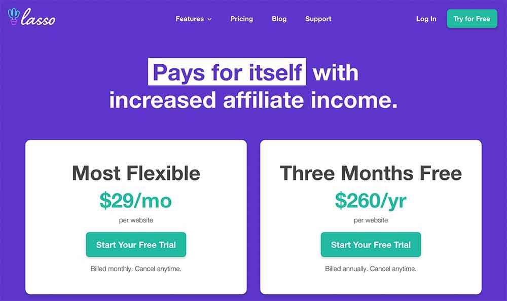 Lasso WordPress plugin pricing