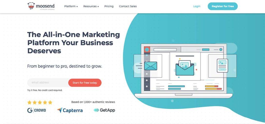 Moosend marketing platform for business