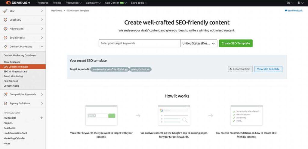 SEMRush - SEO friendly content template