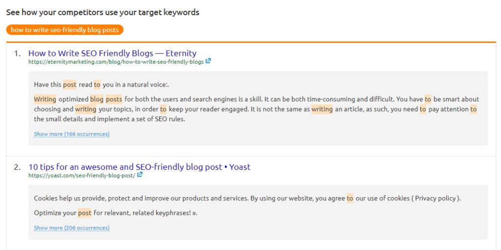 Use of target keywords - SEMrush SEO Content Template