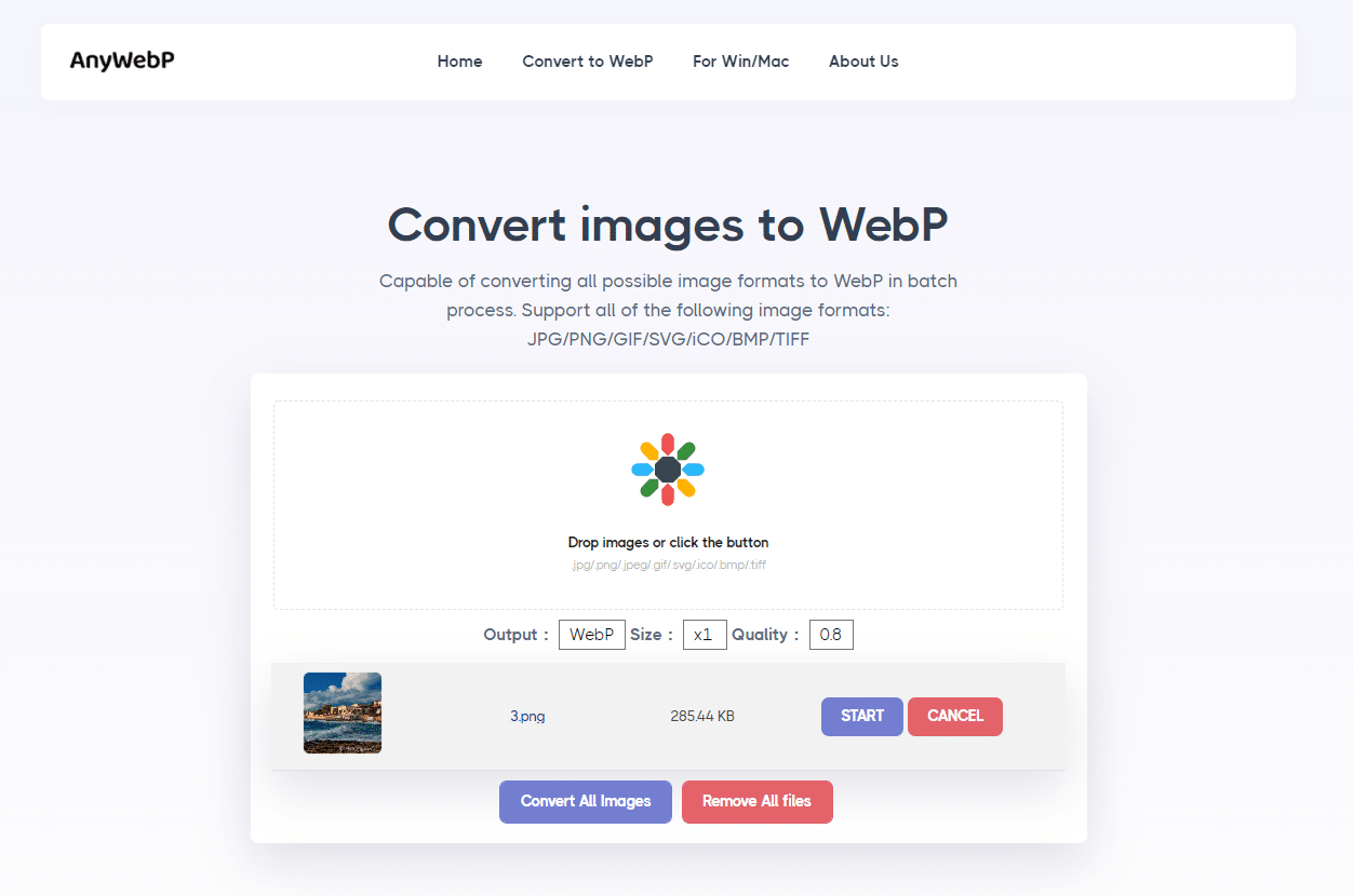 AnyWebP - convert images to WebP