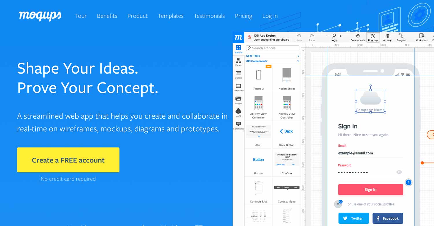 Moqups - Wireframes, mockups, diagrams, prototypes.