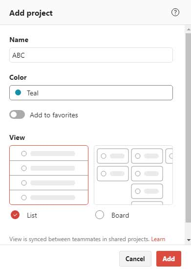 Adding a new project on Todoist