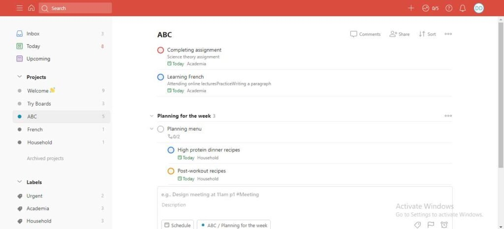 Todoist managing projects