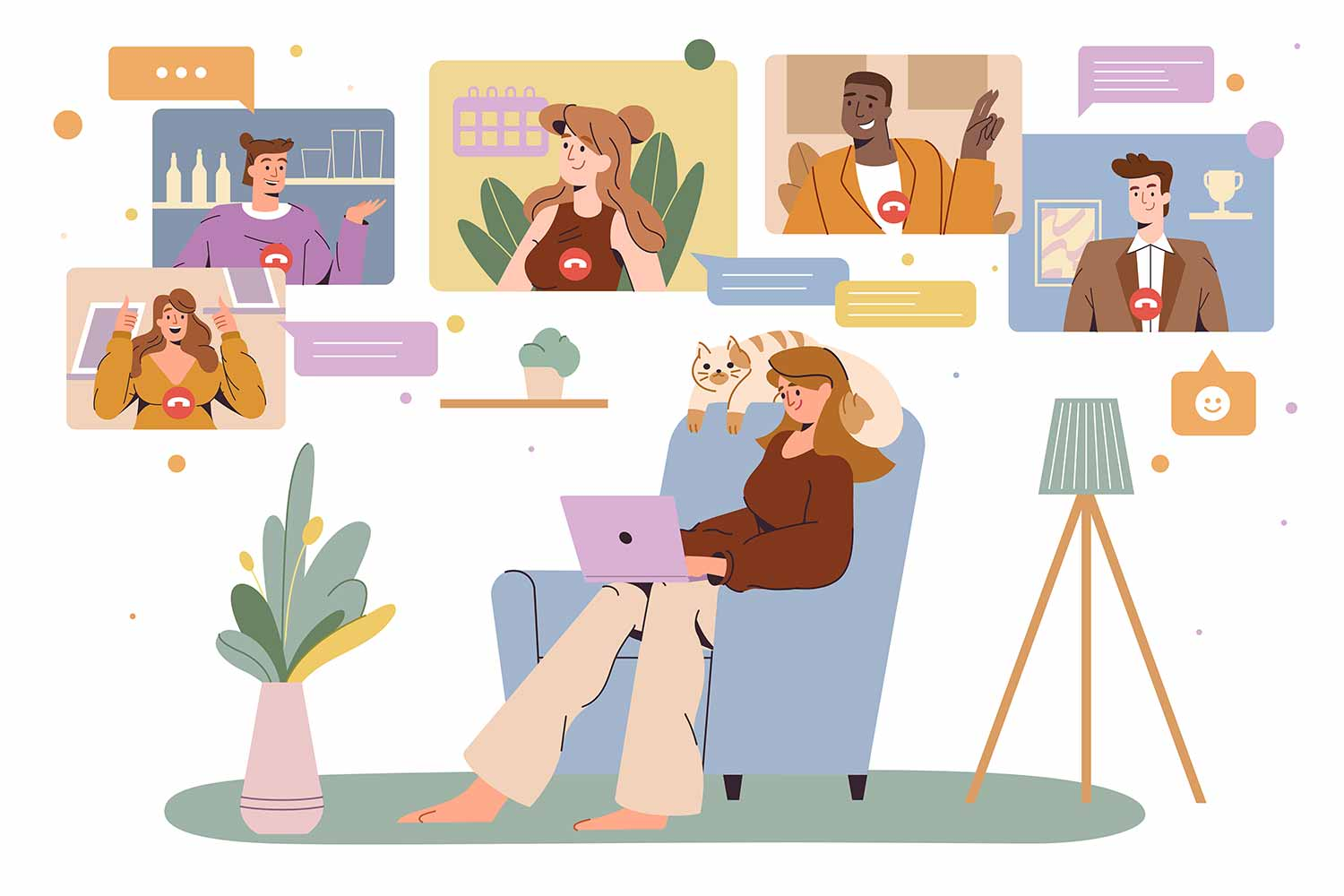 Virtual office space working from home concept online video conference