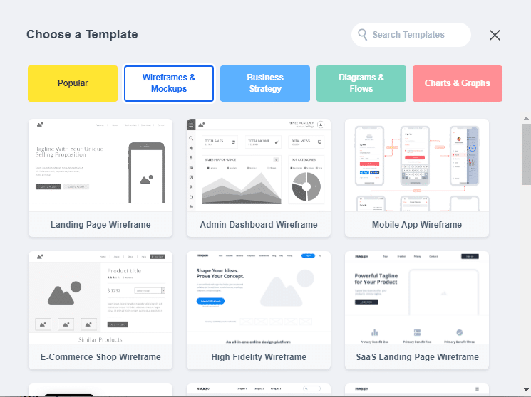 Wireframes mockups template on Moqups
